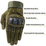 OMGAI Männer voller Finger militärische taktische Handschuhe des harten Knöchel mit Klettverschluss für Airsoft Armee Paintball Motorrad Outdoor Sports Armee Grün L - 2