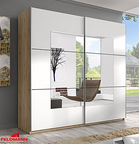 Schwebetürenschrank Kleiderschrank 54561 sanremo eiche hell / weiß mit Spiegel 200cm