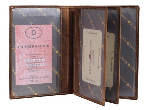 Greenburry Vintage Fishing Ausweismappe mit Fisch Forellen Motiv braun | ECHT LEDER -pflanzlich gegerbt | Lederhülle mit 6 Klarsichfächer | 16,5x1,5x12cm