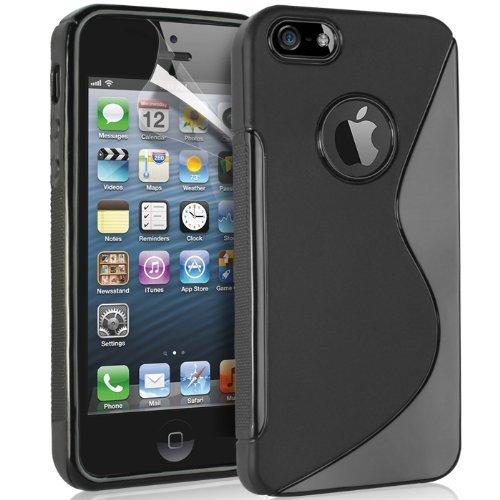 NWNK13 iPhone 5/5 G/5S Premium Weich Gelee TPU Gel Schutzhülle inklusive Displayschutzfolie & Reinigungstuch schwarz (Mini Distressed Jean)