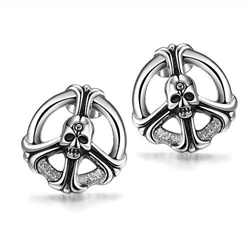 GRACEFUL Stainless Steel Stud Earrings Silver Plated Skull Gothic Men