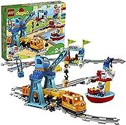 LEGO 10875 DUPLO Town Godståg, Leksakståg, Barnleksaker med Ljus och Ljus, Byggsats för Barn 2+ år