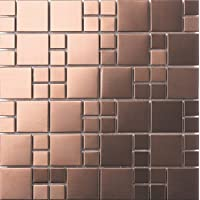 30cm x 30cm Matte cepillado acero inoxidable mosaico pared azulejos hojas aspecto de cobre (mt0174)