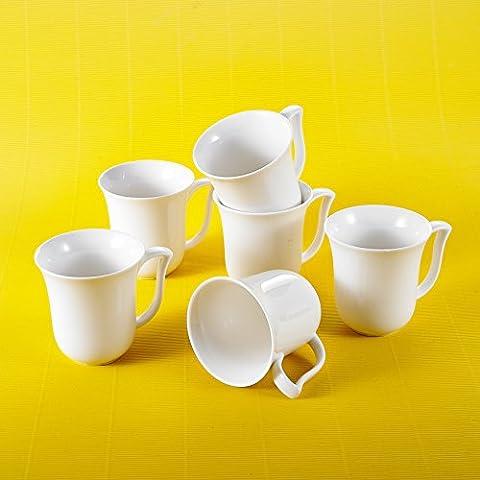 Malacasa, Serie Amparo, 12 Teilig Set Kaffeeservice Cremeweiß Porzellan Kaffeetasse Tassen 4,75 Zoll / 12*9,5*10cm / 290ml Becher Teetasse Kaffeebecher-Set Bechersets