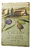 Blechschild Pflanzen Deko blaue Oliven Italien Metall Wand Schild 20X30 cm