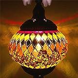 Mediterrane Retro romantische Geschenk Geschenk Persönlichkeit kreative handgemachte Glas türkische Tischlampe@Ingwer gelb_Druckknopfschalter