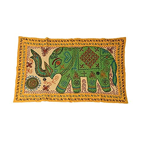 Jaipuri Recycled Sequins Embroidered Patches Mix Cotton Wall Tapestry