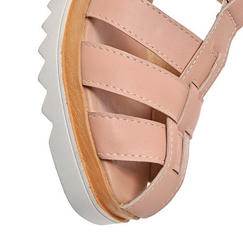 Rosa VogueZone009 Heeled Punta Medio Sandals Finta Tacco Pelle Donna Aperta Scamosciata wfwq4