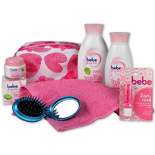 Handverpacktes Geschenk-Set Young Lady mit Bebe Young Care Kosmetiktasche inklusive Body Milk und Duschbad plus Gesichtscreme sowie Lippenpflege und Haarbürste mit integriertem Spiegel