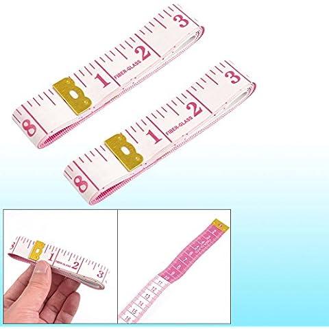 1,5 m doble tono de oro de acoplamiento Tailor cinta métrica herramientas Magenta blanco 2 piezas