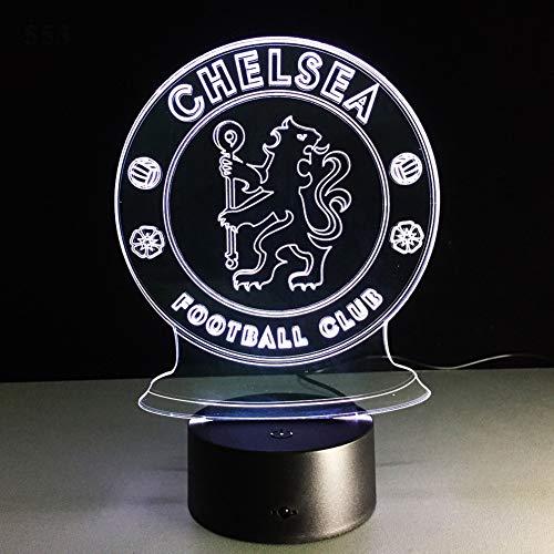 SXMXO LED Chelsea Football Club 3D Nachtlicht Kreative Elektrische Illusion Lampe 7 Farben Ändern USB Touch Schreibtischlampe,5color+Sound -