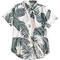Polos Manga Corta Botones Camisa Hawaiana Hombre Camiseta Estampado de Hojas Tops Bohemia Raya Playa de Verano Vintage Blusa Slim Fit Shirts Cuello Tallas Grandes 5XL (Gris, L)