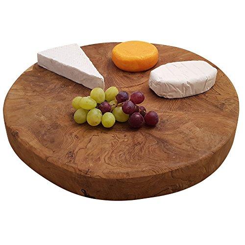 Runde Servierplatte Große, (Servierbrett Teakholz Ø40cm Schneidebrett Holz massiv rustikales Jausenbrett Käseplatte rund Wurstplatte cutting board (Ø40cm))