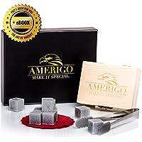 Ensemble de Cadeaux Whisky Pierres par Amerigo - Ensemble de 9 Whisky Rocks - Whisky Stones Gift Set - Whisky Glacon Granit - Pinces en Acier et 2 Sous-verres