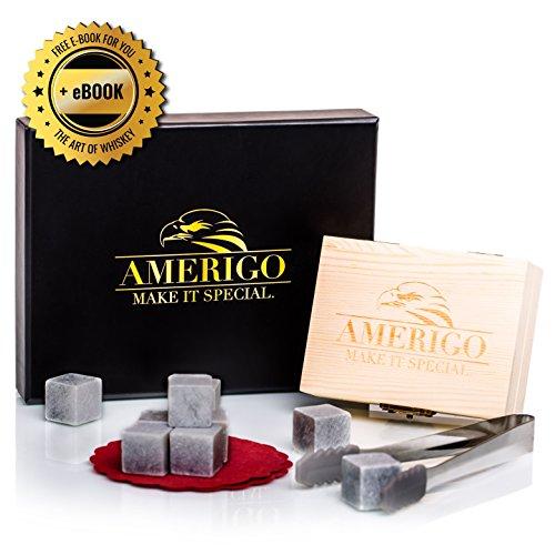 Un Set Regalo de Lujo de Piedras para Whisky de Amerigo - Set de 9 Whisky Stones - Set de Regalo de Piedras Refrigerantes con Caja de Madera Hecha a Mano, Pinzas de Acero Inoxidable y 2 Posavasos