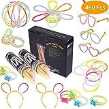 200 Knicklichter Leuchtstäbe, Armbänder Glowstick mit 200 Steckverbindern, Dreifache Armbänder, Ein Stirnband, Ohrringe, Blumen, Eine glühkugel & Vieles
