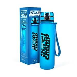 PureChamp® Trinkflasche 1000ml - Sportflasche BPA frei und auslaufsicher – Premium Fahrradflasche aus Tritan – ideal für Sport, Schule, Reisen, Outdoor und Freizeit