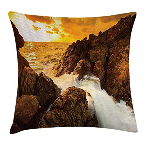 VVIANS Beach Throw Pillow Cushion Cover, Sunset and Waves Over Tropical Wild Rocks on Beach Heaven Nature Summer Calm Print, Decorative Square Accent Pillow Case, 18 X 18 Inches, Orange Grey