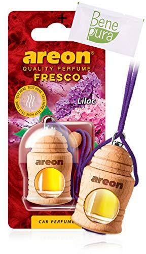AREON Auto-Lufterfrischer Parfüm Fresco 4 ml - Fliederfarben-duft - Hängende Flasche Diffusor mit Echtholzdeckel, langlebig -