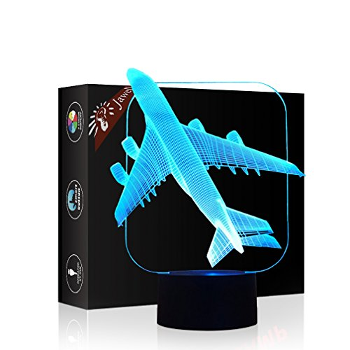 Flugzeug Geschenk Nachtlicht 3D neben Tischlampe Illusion, Jawell 7 Farben ändern Touch Switch...