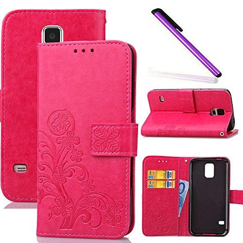 COTDINFOR Galaxy S5 Funda trébol Cierre Magnético Billetera con Tapa para Tarjetas de Cárcasa Elegante Retro Suave PU Cuero Caso Protectora Case para Samsung Galaxy S5 Clover Red SD
