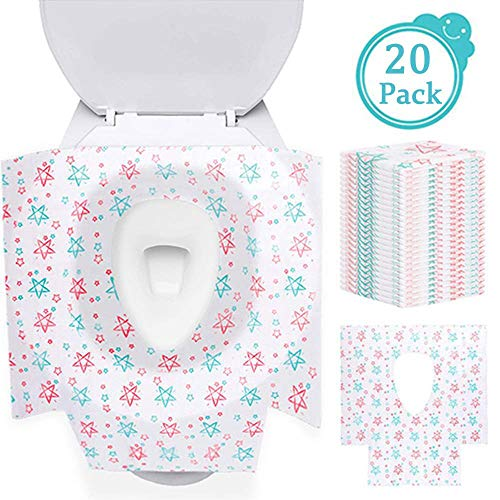 Impermeabile wc coprisedili 20 pezzi copriwater cover monouso set da viaggio, 60 cm x 65 cm grande addensare tessuto non-tessuto cuscino wc toilet seat cover per bambini adulti famiglia