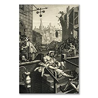 Poster art print: WILLIAM HOGARTH BEER STREET GIN LANE B (A2 maxi - 40.7x61cm / 16x24in, semi-gloss satin paper, gift artwork home decor decorative)