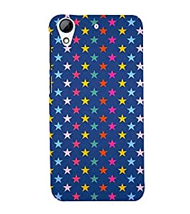multicoloured stars in blue background 3D Hard Polycarbonate Designer Back Case Cover for HTC Desire 728::HTC Desire 728G