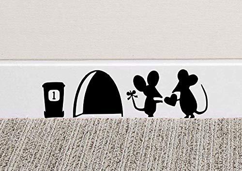 JUNMAONO Abnehmbare Wandaufkleber Maus-Loch Wand Kunst Aufkleber Waschen Vinyl Aufkleber Mäuse Home Sockelleiste Funny Vinyl Wandtattoo Wandgemälde Dekoration (18 x 7 cm, ()
