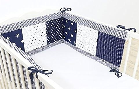 BEBILINO ® Nestchen Bettnestchen & Bettumrandung für Babybetten BLAUE STERNE