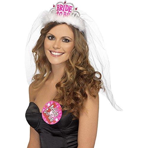 GA Krone Haarreif Bride To Be Brautschleier Diadem Junggesellinnen Krönchen Junggesellinnenabschied Accessoire (Tiara, Schleier)