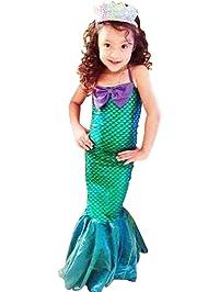 Vestido Niñas 3-12 años vestidos de cola de pescado princesa Ariel lindo vestido de