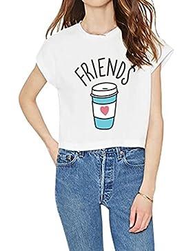 Juleya Best Friends Tshirt Camiseta Cómoda camisa de algodón 100% Rey impresión shirt Casual Blusas de cuello...