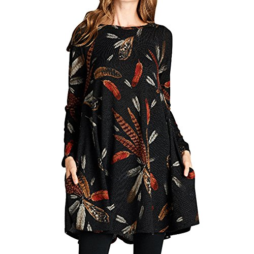 Femmes automne robe pull - hibote Casual Pull manches longues A-ligne jupe plage Mini robes courtes avec 2 poches Noir