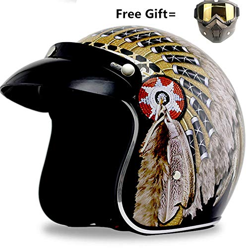 Retro Motorrad Harley Helm, 3/4 Open Face Half Helm/DOT genehmigt/Cruiser Vier Jahreszeiten Männer und Frauen Motorradhelm mit Brille Maske,XXL