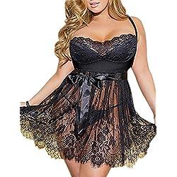 ohyeahlady Femme Nuisette Babydolls Lingerie Robe en Dentelle Floral Vêtement de Nuit Pyjamas avec Bretelle Transparente et Respirante, Noir2, 5XL=EUR 48-50
