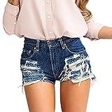 Jeans Damen, HUIHUI Skinny Jeans Hosen für Damen High Waist bis Übergröße Stretch Frauen Hohe Taille Stretch Slim Bleistift Hose Zurück Reißverschluss Quaste Breites Bein Shorts (S, Blau)