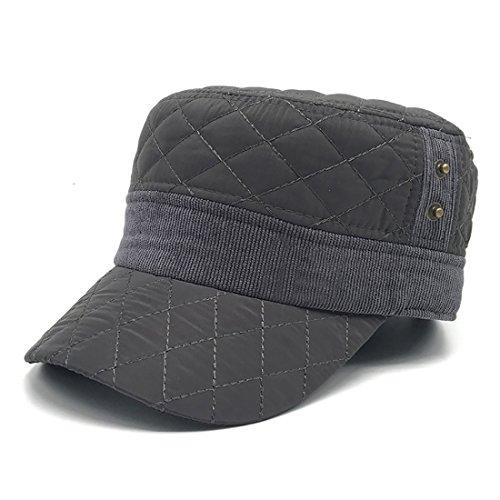 BeFur Herren Winter Baumwoll Cap Ohrenschützer verstellbare Kappe Military-Stil Wintermütze - schwarz (Stil Alten Baseball-cap)