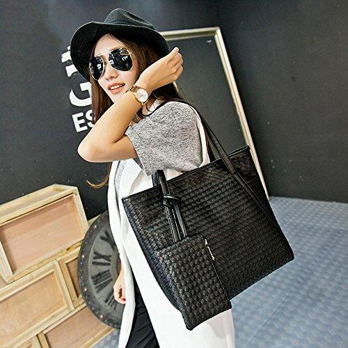Bing Art und Weise PU-Leder-Woven-Handtasche + Geldbeutel-Taschen-Tasche black