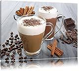 Heiße Schokolade und frischer Kaffee Format: 80x60 auf Leinwand, XXL riesige Bilder fertig gerahmt mit Keilrahmen, Kunstdruck auf Wandbild mit Rahmen, günstiger als Gemälde oder Ölbild, kein Poster oder Plakat