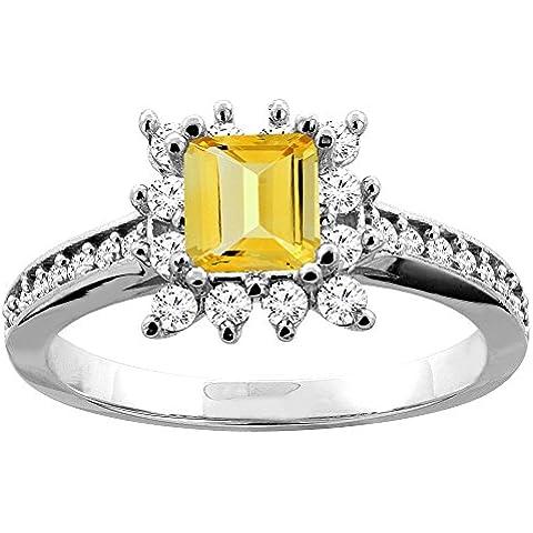 Revoni-Bracciale in oro bianco 14 kt con quarzo citrino e diamanti Accents-Anello di fidanzamento, 5 (Accent Diamante Bracciale)