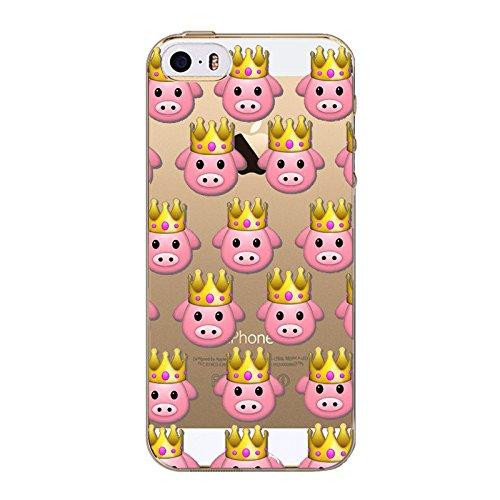Coque en Gel silicone souple pour iphone 5 , 5S et 5SE , modele smiley emoticon , singe rose , noeud rose roi cochon