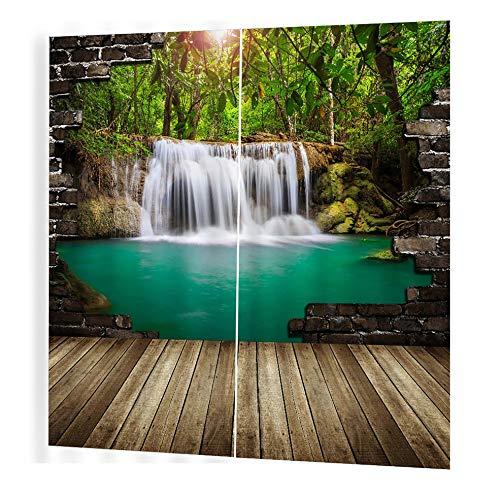 Wasserfall Original Vorhang 170 * 200 für Schlafzimmer Home Fashion Mix & Match Tüll Sheer Lace & Blackout Vorhang Set