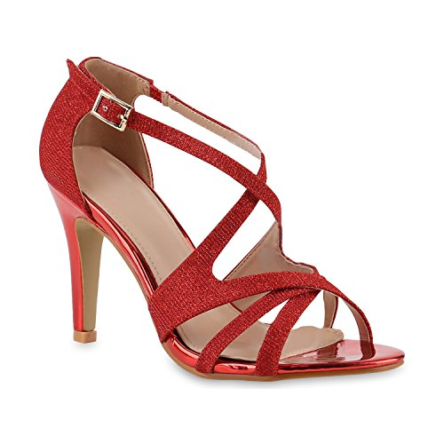 n Riemchensandaletten Sandaletten Stilettos High Heels Sommer Party Abiball Hochzeit Braut Schuhe 139367 Rot Rot Gold 37 Flandell (Braut High Heels)