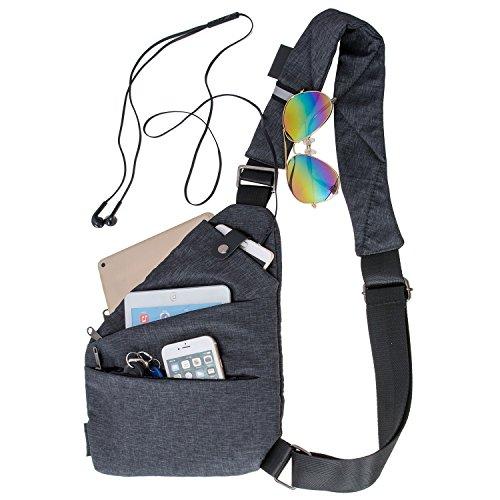 aschen Wasserdichte Oxford Multi-Pocket Messenger Taschen Kleine Leinwand Chest Pack für Reisen Wandern Outdoor Sportarten (Recht - Oxford Tuch) ()
