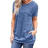 ESAILQ Damen T-Shirt Damen Sommer Bauchfrei Trägerlos V-Ausschnitt Stickerei Crop Tops Oberteile Bluse(XL,Blau)