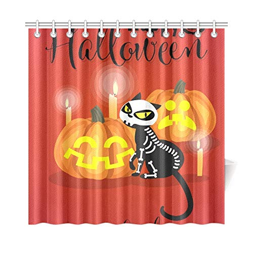 JOCHUAN Wohnkultur Bad Vorhang Halloween Kätzchen Skeleton Kostüm Halloween Polyester Stoff Wasserdicht Duschvorhang Für Badezimmer, 72X72 Zoll Duschvorhang Haken Enthalten