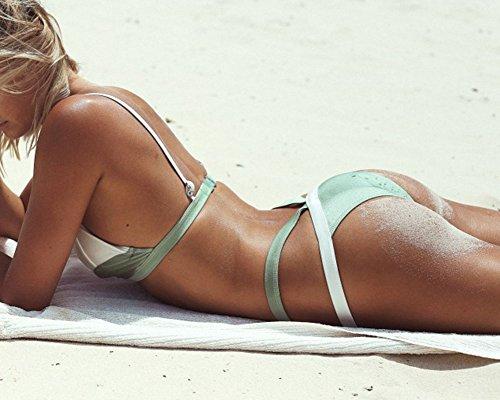Damen Bikini Set gefaltet Bademode Push Up Mischfarben Bikini Weiß