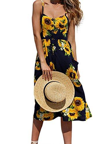 Button-down-kleid Schwarz Damen (Damen Sommer Floral böhmischen Sleeveless Kleider Strap Button Down Swing Midi Kleid mit Taschen)