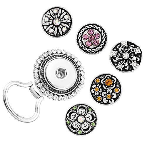 MJARTORIA Interchangeable Yin Yang Snap Button Centerpiece Rhinestone Flower Eye Glass Holding Magnetic Brooch jvIXV